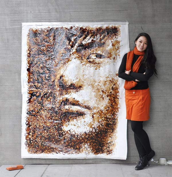 'Painting' a Portrait with Coffee Cup Stains