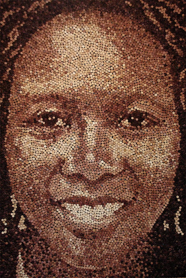 Giant Portrait Made with 9,217 Wine Corks