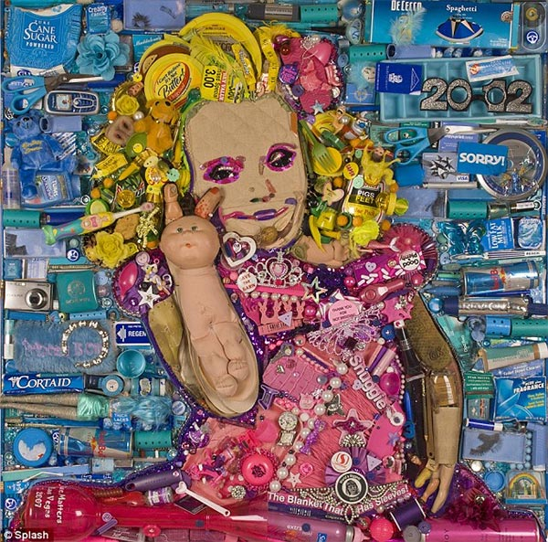 Honey Boo Boo Portrait made of recycled trash