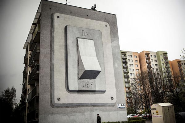 Building-size Light Switch Painted on Building