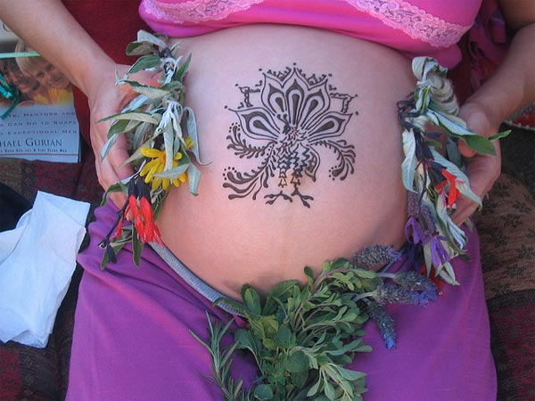 Pregnant Belly with Mehndi Design