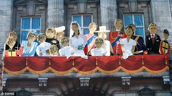 Royal Family Wedding Scene Recreated with Scarecrows
