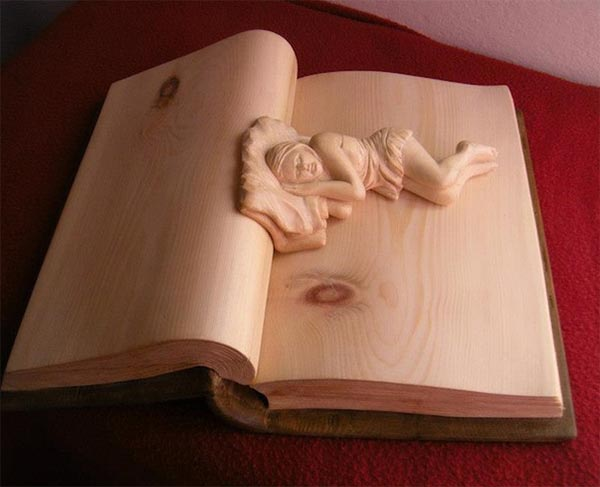 Wooden Carved Books