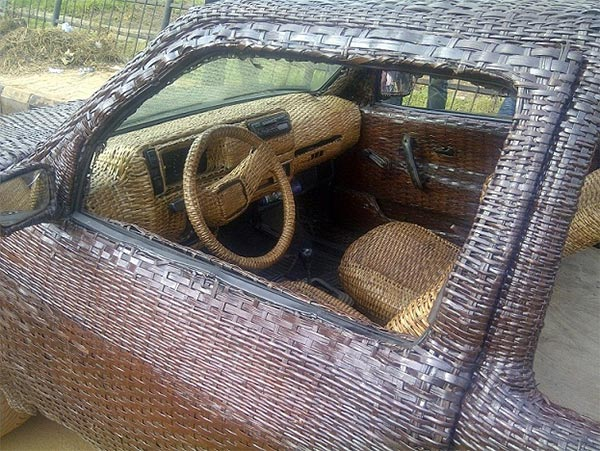 Nigerian Artisan Covers Car in Woven Raffia Palm Cane to Advertise His Business