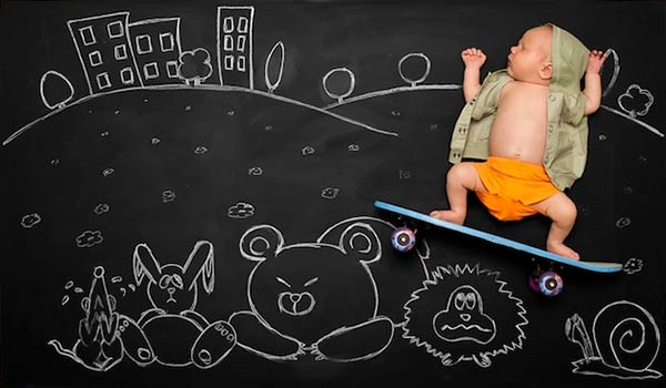 Imaginative parents create adorable pictures of their newborn son