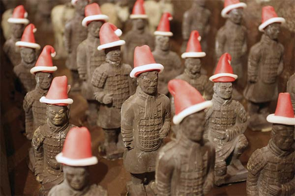 Terracotta Army Wearing Santa Hats Created Entirely Out of Chocolate