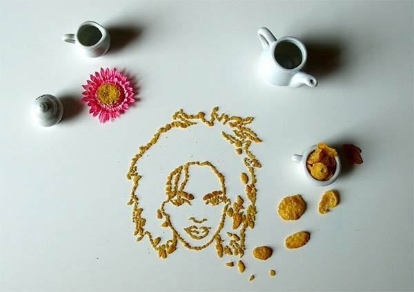 Celebrity Portraits Made From Corn Flakes Cereal