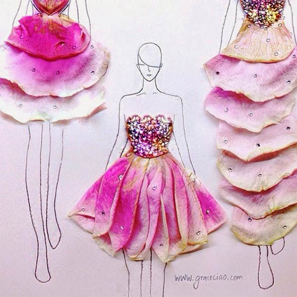 Real Flower Petals Turned Into Fashion Design Illustrations