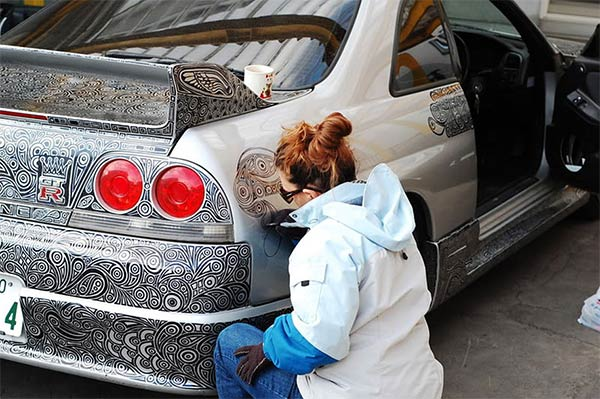 Sharpie Pen Drawing on Nissan Skyline GTR Sports Car