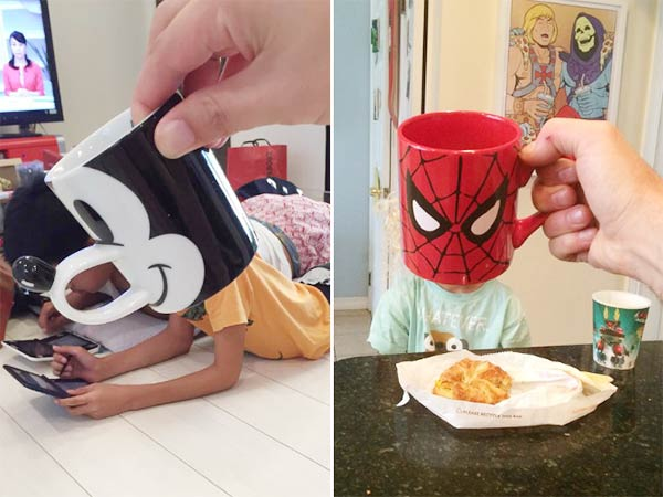 Creative Dad Turns His Kids Into Superheroes With Pop-Culture Mugs