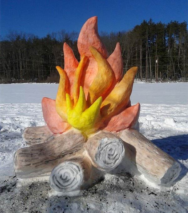 Artist Makes Giant Fire and Marshmallow Out of Snow