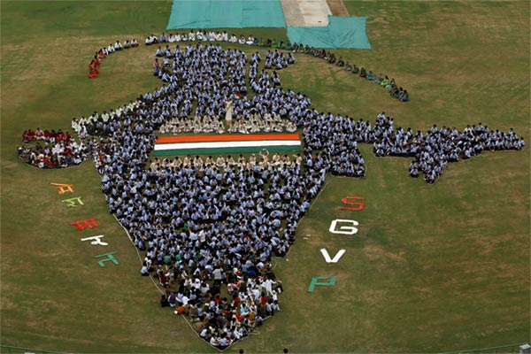 Indian Map Formation By School Students
