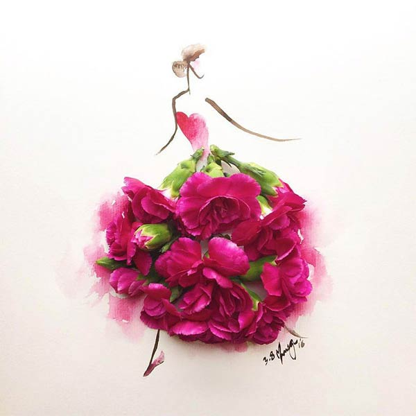 Clever Fashion Illustration: Whimsical Flower Dress by Lim Zhi Wei