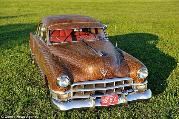 Family cover their classic Cadillac in more than 38,000 cents