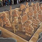 This amazing Lego army 3D chalk drawing is made by Dutch artist Leon Keer. The drawing based on the famous terracotta army sculpture of Chinese Emperor Qin Shi Huang....