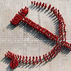 University Students Stand in Formation To Create Chinese Communist Party's Emblem