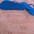 Custom made Flip Flops leave impressions in sand and soft soil with each step. Ask your followers to follow you (inspired by Twitter) and leave &#8220;Follow Me&#8221; impression on...