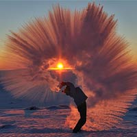 Pouring a Thermos of Hot Tea at -40°C Near the Arctic Circle