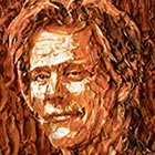A unique portrait of Kevin Bacon made out of bacon by mosaic artist Jason Mecier. Total 15 pounds of bacon used to create this portrait. &#8220;I used burnt bacon...