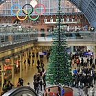 Lego Christmas tree inside London's St Pancras Station is the world's tallest Christmas tree made out of 60,000 LEGO bricks. It measures 12m (33-feet) tall and consists of 172...