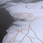 Giant Melting Da Vinci Artwork Recreated on Arctic Sea Ice