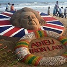 A sand sculpture of Margaret Thatcher made by the sand artist Sudarshan Pattnaik at the golden beach of Puri. He is the same artist who created Osama Bin Laden...