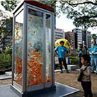 Today most of us have cellular phones and the public pay phones have become obsolete. Art collective Kingyobu have totally shifted their purpose and turned them into artistic monuments....