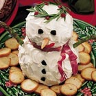 Snowman Made of Cream & Cheddar Cheese