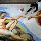 "Michelangelo's Masterpiece ""The Creation of Adam"" Recreated with Cake Sprinkles"