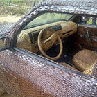 "40 years old talented artisan from the Nigerian city of Ibadan has covered his car inside and outside from woven raffia palm cane. Ojo said: ""I want to prove..."