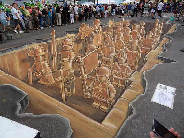 3D Lego Street Art - Terracotta Army Inspired Drawing