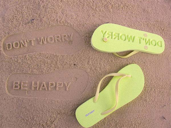 Don't Worry Be Happy Sand Imprint Flip Flops