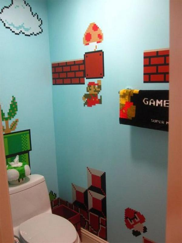Side view of toilet walls with Super Mario theme