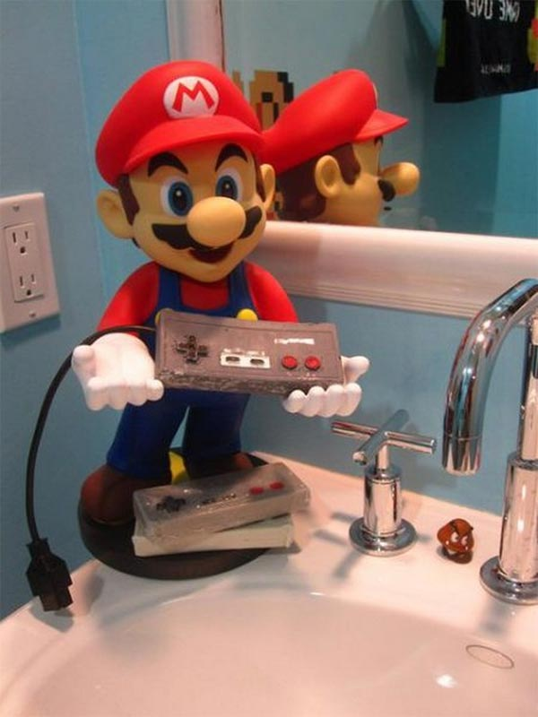 Super Mario holding soap on sink