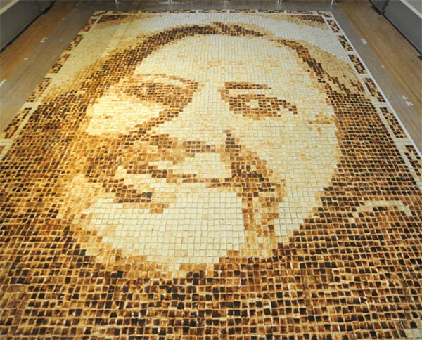 Mother-in-Law Recreated with Huge Toast Portrait by Laura Hadland