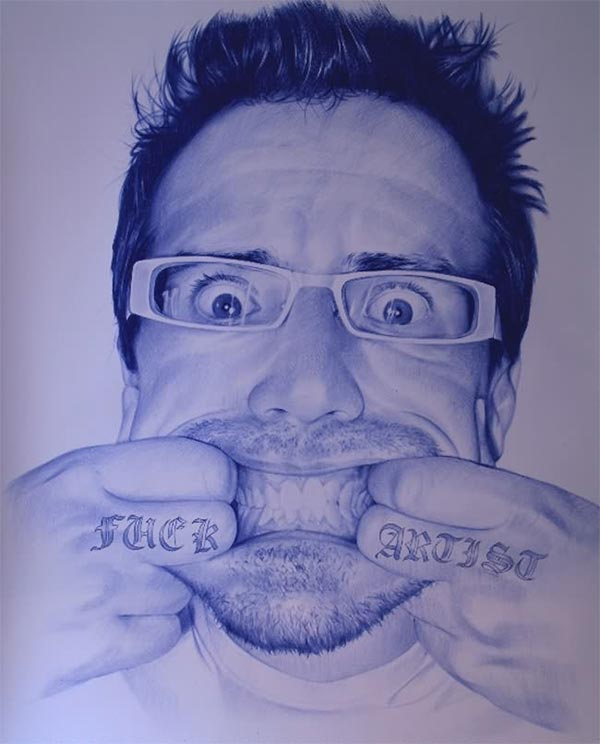 Paintings made with ballpoint pen