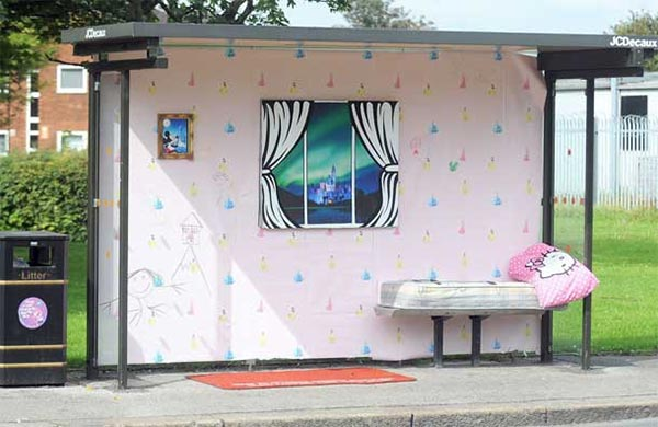 Bus stops that became homes overnight: Street artists in protest against banks