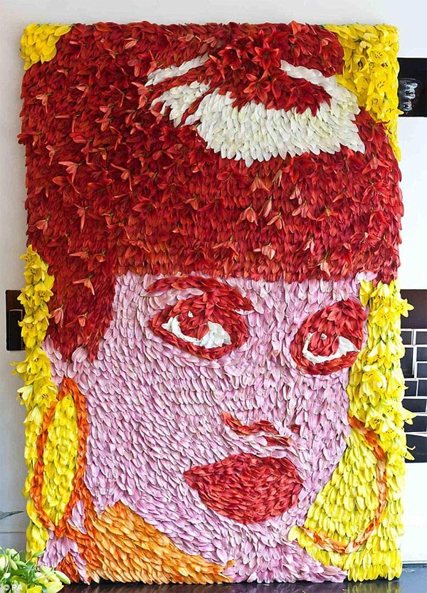 Lily Allen Portrait Made of 1800 Real Lilies