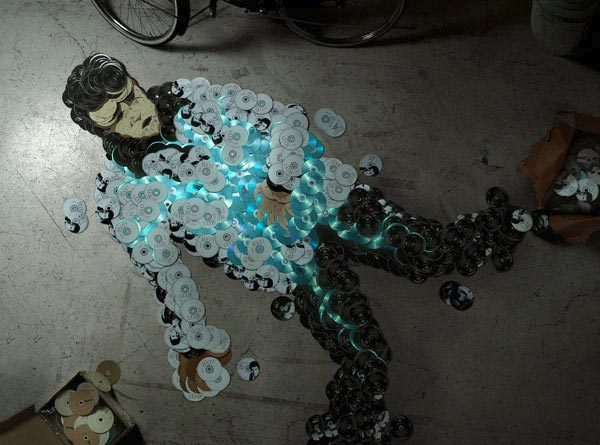 Piracy: Using CDs To Make A Portrait