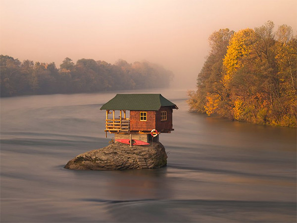 House in the middle of Drina River, Serbia