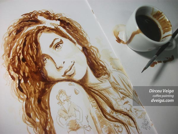 Amy Winehouse Coffee Paint by Dirceu Vegia