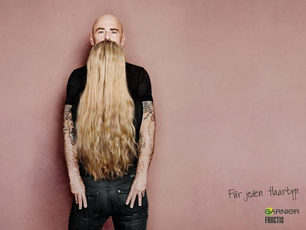 Long Hair That Looks Like a Beard, Clever Ads by Garnier Fructis