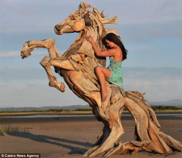 Horse Sculpture Made Out of Driftwood