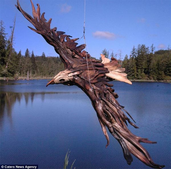 Giant Bird Made Out of Driftwood