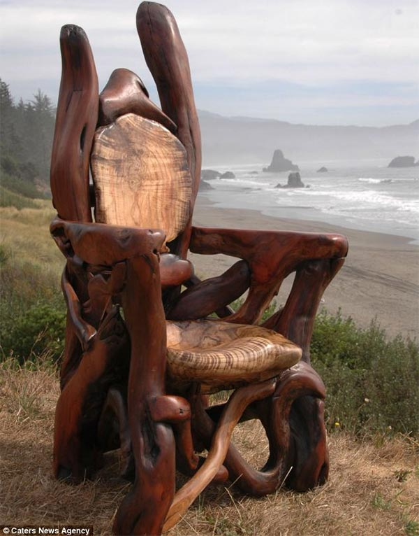 Giant Chair Made Out of Driftwood