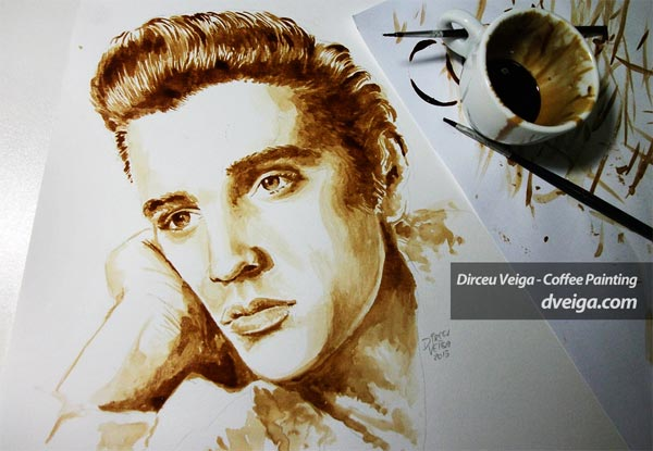 Elvis Presley Coffee Painting by Dirceu Vegia