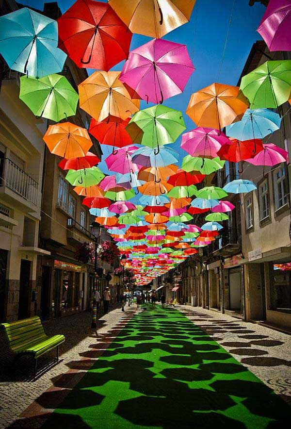 Colorful Floating Umbrellas