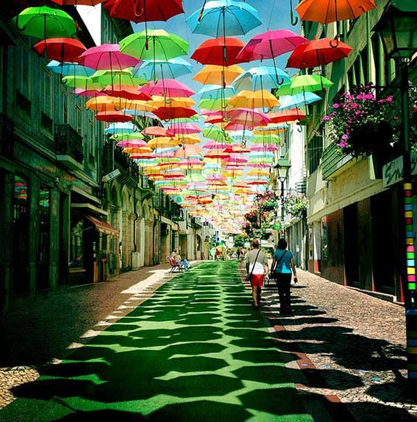 Colorful Umbrellas Magically Float in Mid-Air