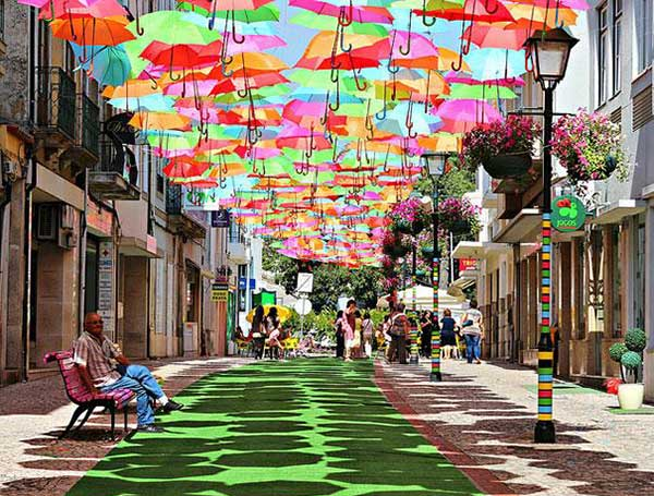 Floating Umbrellas Line The Streets of Águeda, Portugal