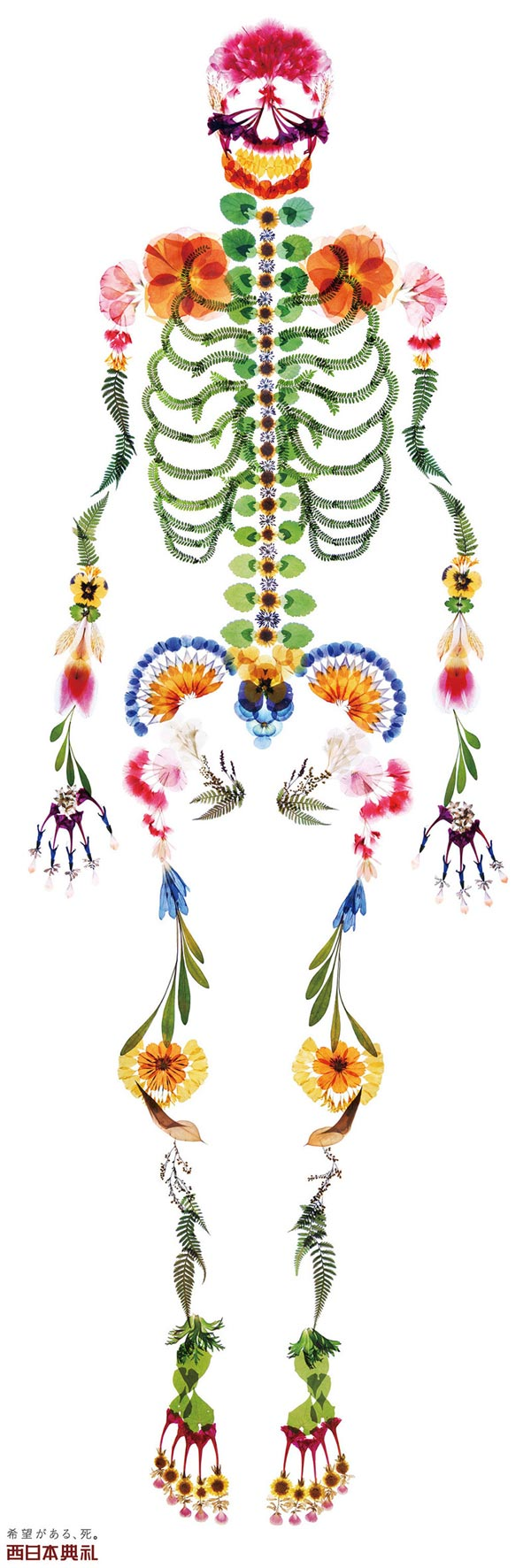 Life-size Human Skeleton Made of Flowers